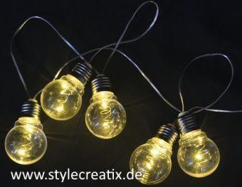 LED Party Lichterkette batteriebetrieben in Glühlampenoptik
