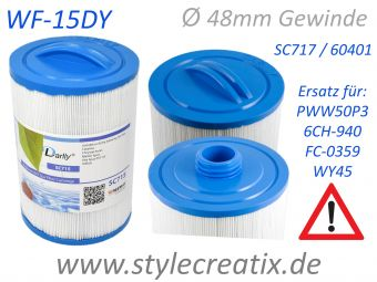 WF-15DY Darlly® Whirlpool Filter 60401 (ersetzt Pleatco PWW50-P3, SC714, Magnum WY45, Waterway, Jacuzzi®, ...)